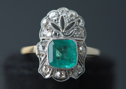 Emerald Ring | Art Deco | Gold